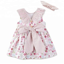 Baby Kids Girls Clothes Sleeveless Ruffle Round Neck Casual Toddler Cotton Bow Flower Girl Dress