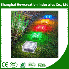 Outdoor Waterproof Solar Path Ice Cube Light Rocks LED Frosted Glass Brick Paver Light for Path Road Square Yard
