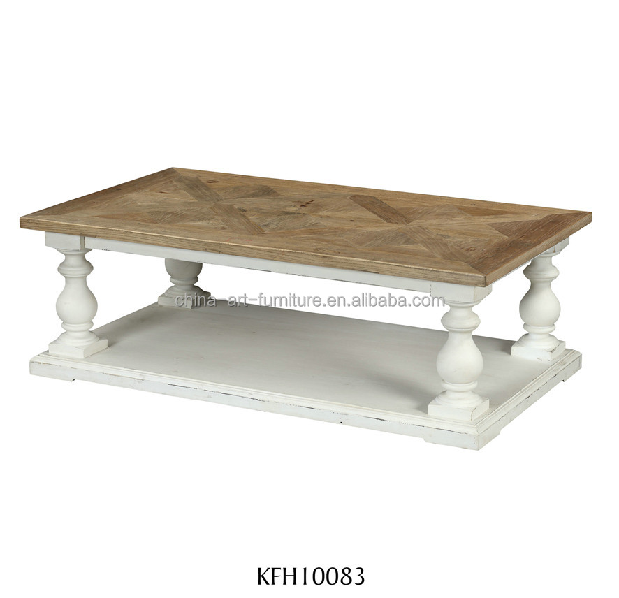 Antique Wood Coffee Table With Parquet Top And White Base Rectangular Sofa Table Designed Wood Living Room Furniture Buy Designed Living Style Furniture