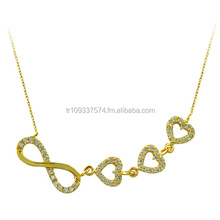 14K Solid Gold Infinity Love Linked Heart Charm Necklace