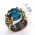 Blue Color Crystal CZ Faceted Cocktail Rings Black Gold Plated New Design Gothic Ring