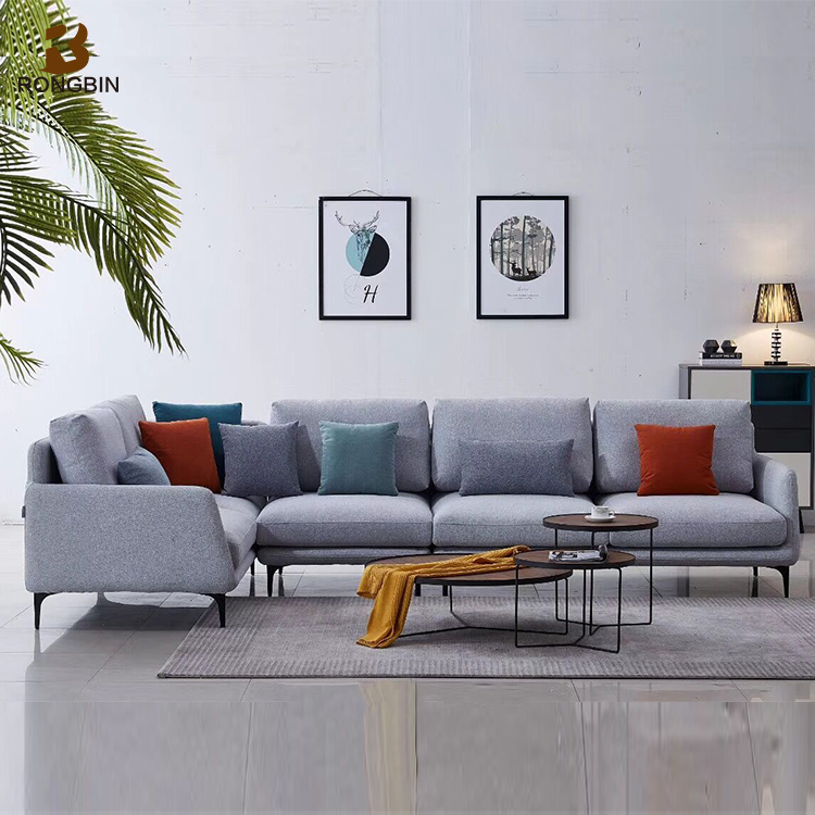 Modern American L Shape White Living Room Furniture Couch Fabric ...