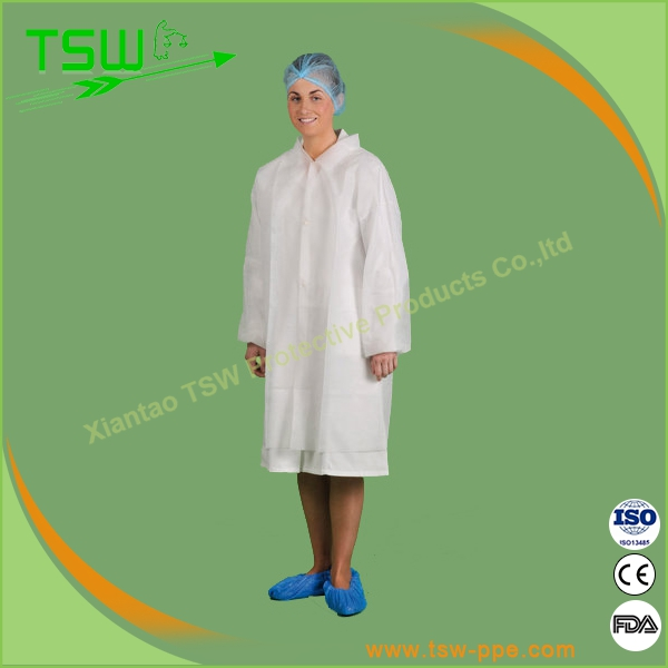 Disposables single collar SMS nonwoven lab coat