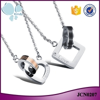 Alibaba hot sale 316l stainless steel lover couples jewelry valentine's day necklace
