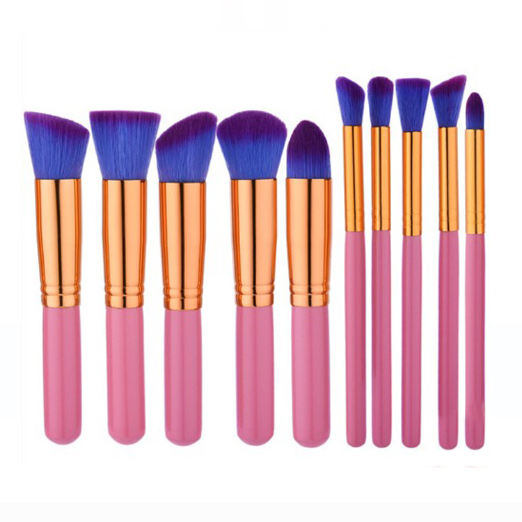 Portable wood handle make up brush set for Traveling