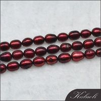 Rice dark red 6-7mm fresh water colour pearls strands wholesale