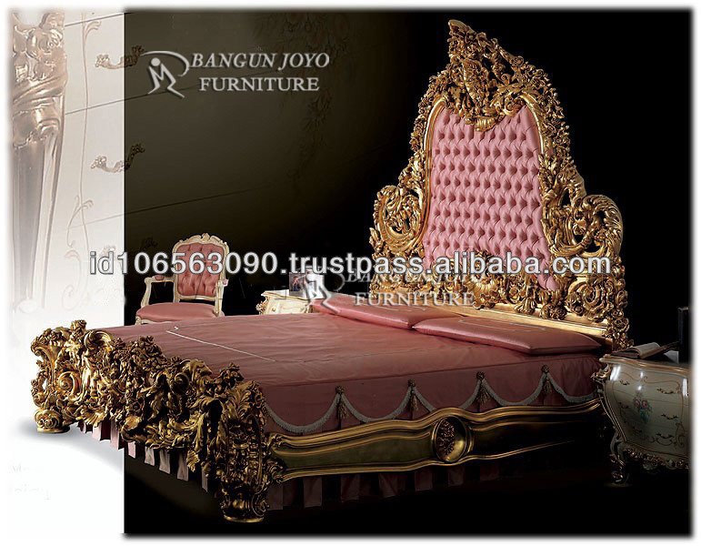 Luxury furniture wood royal crown bed with gold leaf BJ RC01
