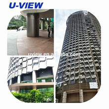 Stainless steel curtain wall and facade with metal column cladding