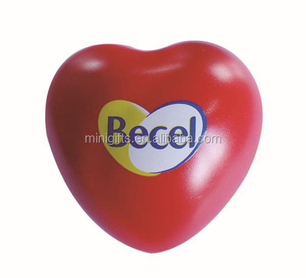 high quality custom hot sale bulk promotional red heart shape PU foam ball/PU toy anti stress heart