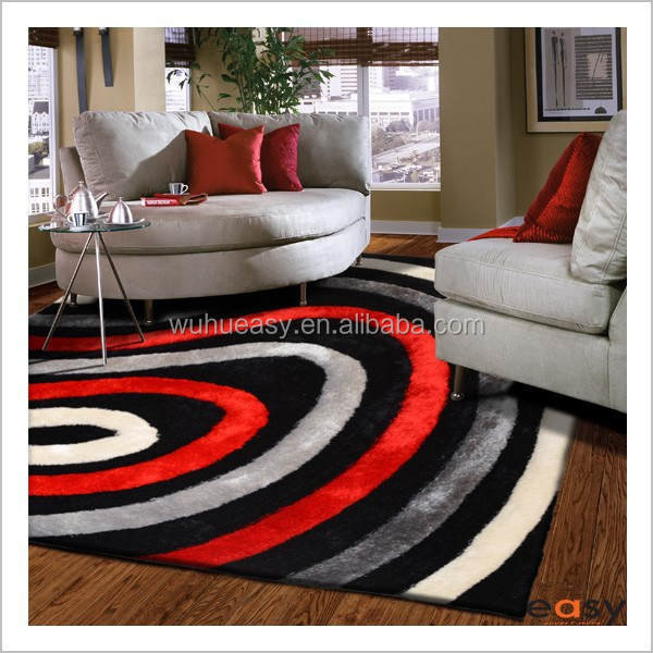 NEW Red round design polyester yarn silk 3D rugs