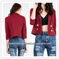 2014 new fashion sexy ladies Striped Blazer Jacket for women wholesale cheap price winter autunm OEM cheap