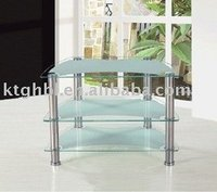 Simple tempered clear glass and stainless steel pipe leg TV stand