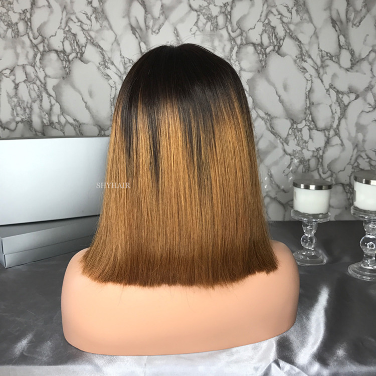 Hot Sale Ombre Brown Cheap Realistic Short Lace Wig Bob Human Hair With Elastic Band