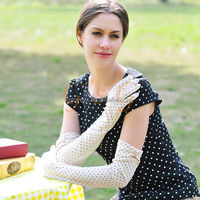 fashional cotton long summer gloves, women cotton glove for UV protecting