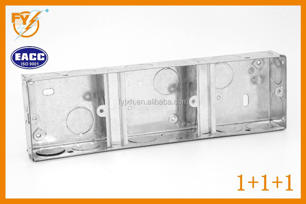 Galvanized Steel junction box-British standard BS4662--1+1+1/ 3 gangs (Metal box/steel box)