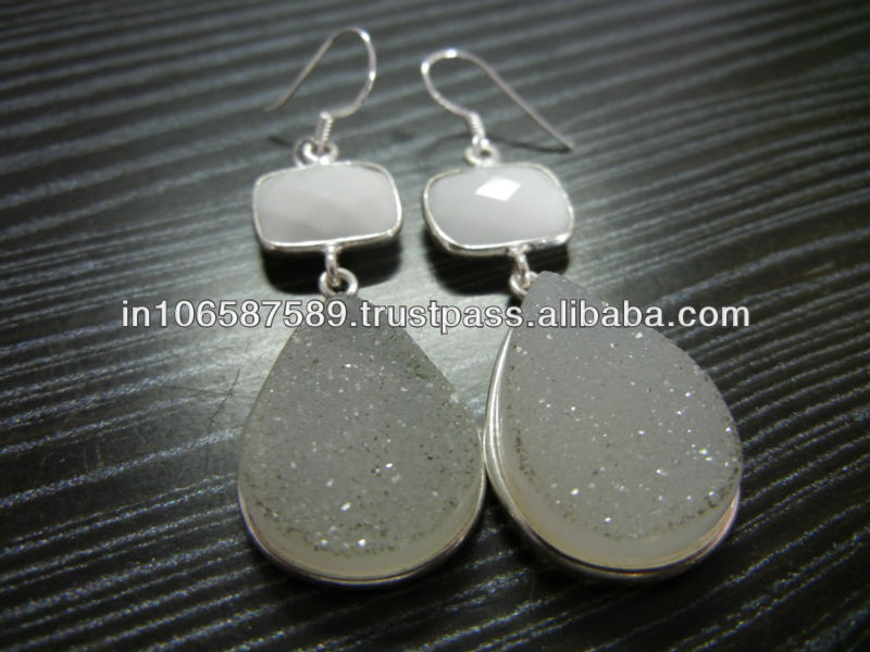 925 Sterling Silver Earring Stud With Druzy & White Chalcedony