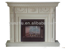 Delicate hand carving flower charcoal fireplaces , White sands cream-colored marble fireplace