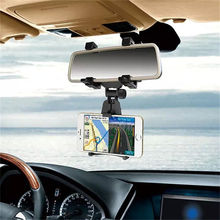 Multi purpose 360 degree flexible GPS rearview mirror stand mount bracket hanging mobile phone holder for car