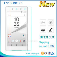 9h explosion proof clear crystal 0.26mm thickness anti-fingerprint tempered glass screen protectors for Sony Z5