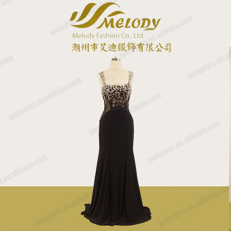 Spaghetti strap beaded stone slim-line mermaid backless long sequin prom dress