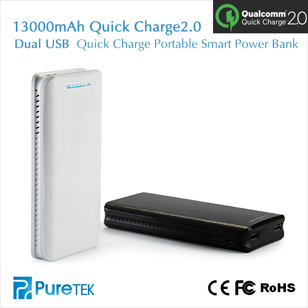 Original QuickCharge 13000mah Portable Power Bank Both Input and Output are QC2.0 support Quick Charge and Quick discharge