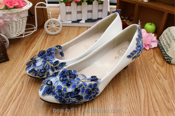 Blue lace spring and summer low with soft leather PU PU women's shoes the hand-made creative stage with shoes WS036