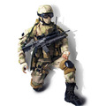 "Custom Made Military 12"" Action Figure with Movable Articulations"