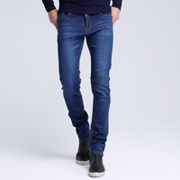 Yihao New Style Jeans Pent Casual Slim Straight Pants Long Trousers Blue Men Denim Jean