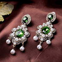 Party Dazzling Women Bijoux New Design Romantic Pearls Emerald Earrings Factory Wholesale
