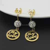 SSE101502 New Simple Designs Stainless Steel Gold Plated Crystal Beads Love Earrings for Women
