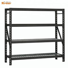 Custom black powder coating rack metal shelf with wire mesh deck