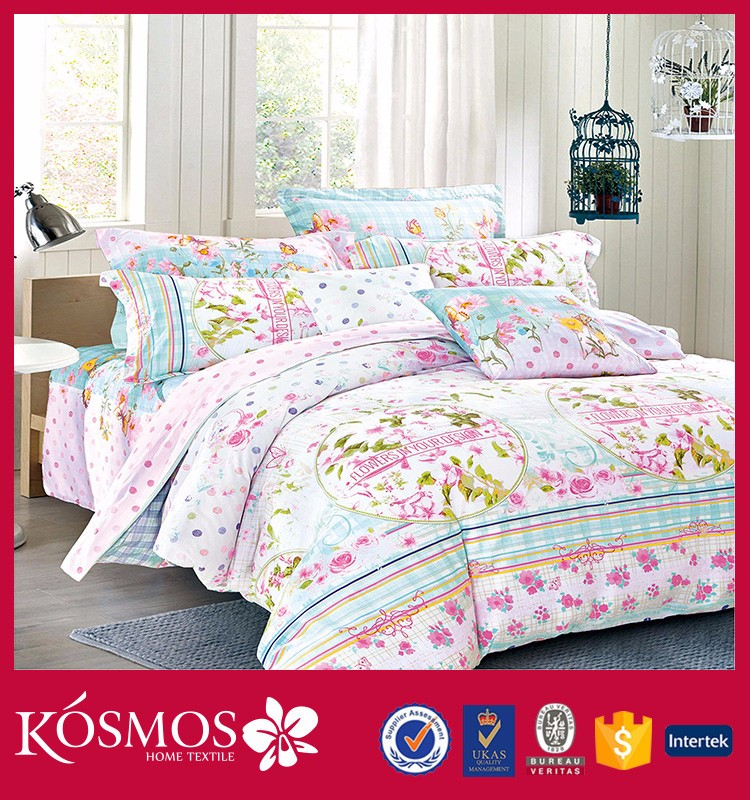 new design classical home textile 4pcs king size bed linen 200TC Namtong flower printing duvet set cotton