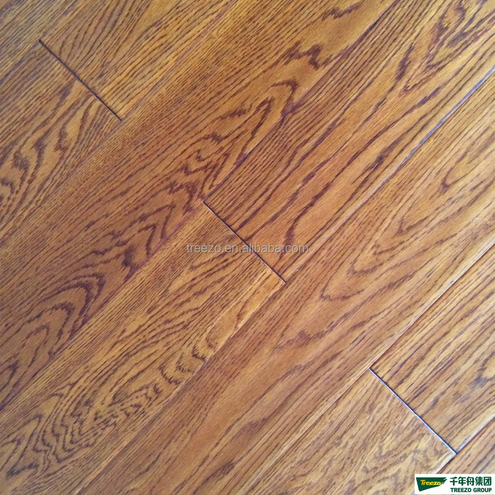 Prefinished white Oak handscraped and distressed engineered hardwood flooring plank