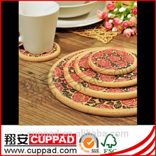 Brand new fashion cork table dish mats with logo printing