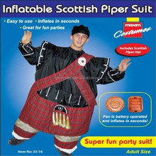 Halloween black jumper and red grid skirt inflatable Scottish piper suit fancy dress costumes