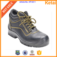 Basic style middle cut embossed leather western style safety work boots