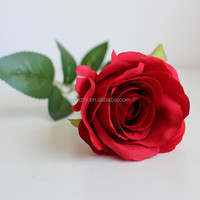 high quality craft china wholesale flower rose fake artificial rose 65cmH single stem red rose for decoration