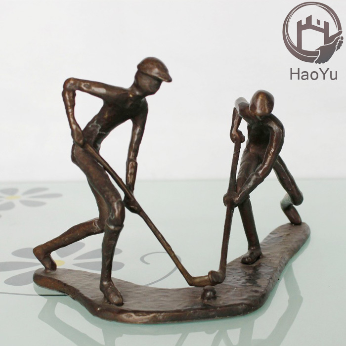 cast iron sport figurines for home decoration the hockey player figurine
