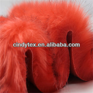 heavy 65mm watermelon red long pile acrylic polyester imitation fox fake fur fabric