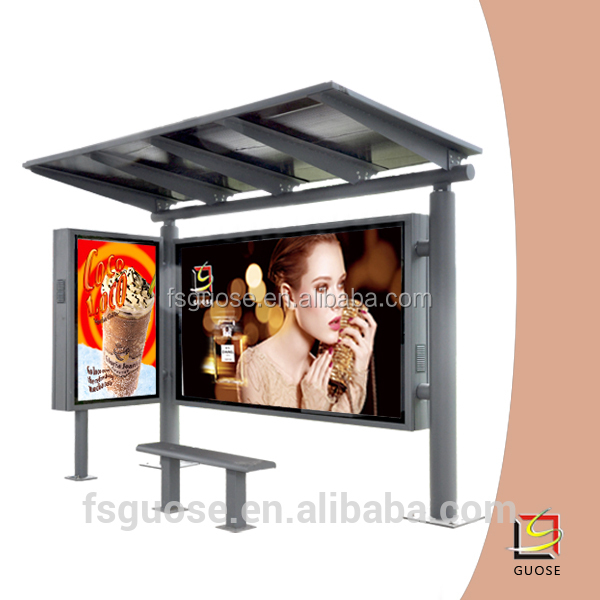 solar power bus stop shelter waiting chairs design with smart light box