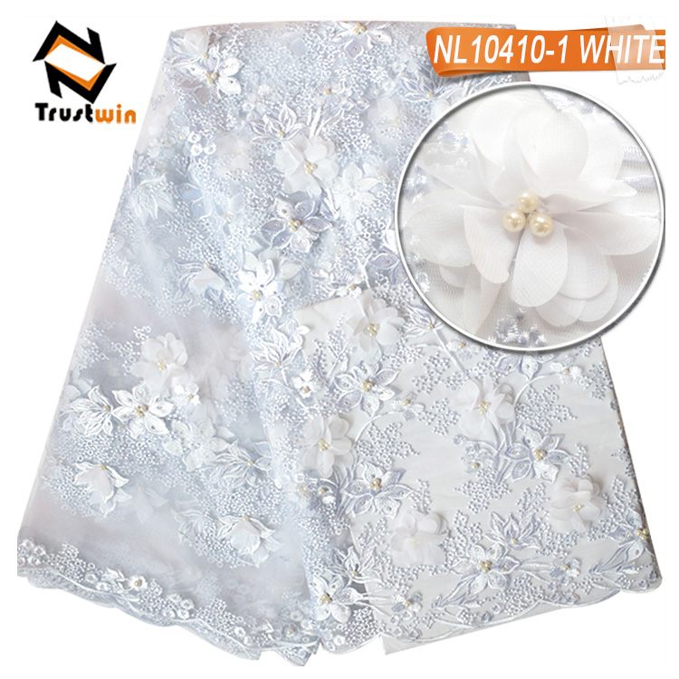 3D flower lace beaded stones embroidery fabric for wedding