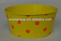 yellow printing decorative tin flower pot/plant