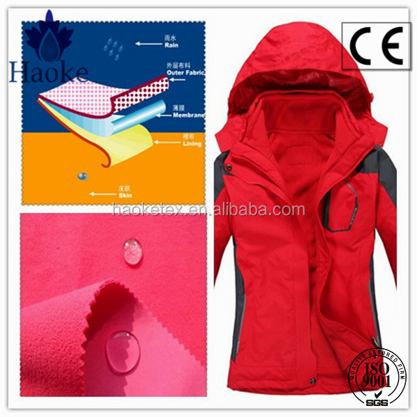 TPU membrane laminated breathable water resistant polyester fabric