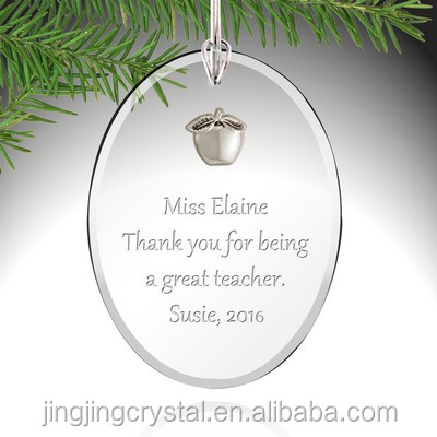Oval Shape Clear Glass Hanging Ornament