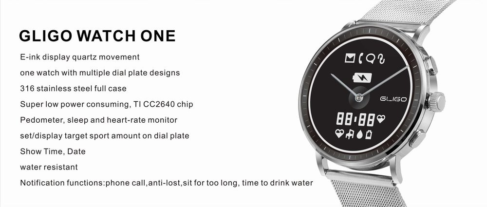 E-ink Epaper Japanese Quartz Movement Smart Watch
