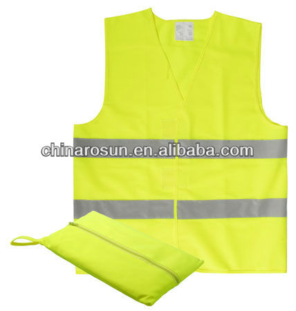 High visibility safety vest reflective waistcoat Hook and Loop Closure100% polyester EN471 CLASS 2 Reflective vest