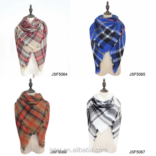 Winter <strong>Scarf</strong> Plaid <strong>Scarf</strong> Designer Unisex Acrylic Basic Shawls Women's <strong>Scarves</strong>