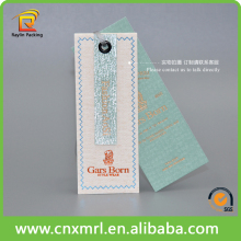 Light green color silver printing garment hang tag with nylon string