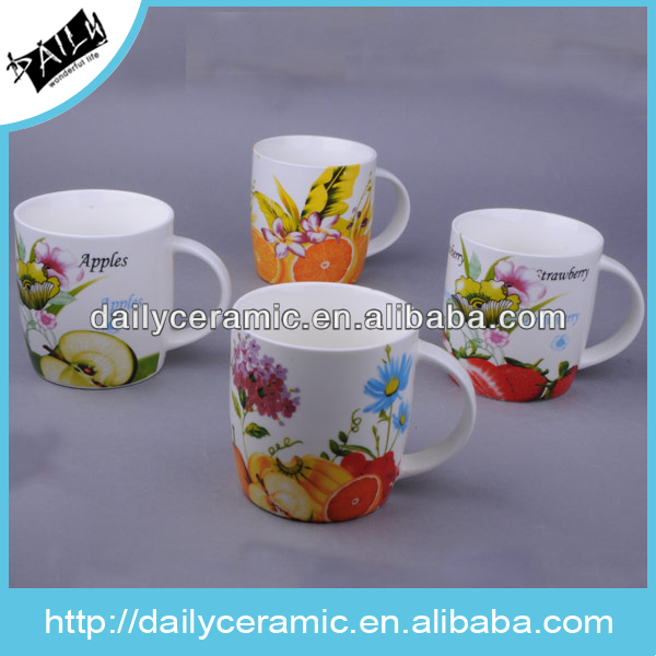 10 oz dream shape ceramic coffee mug with fruit design