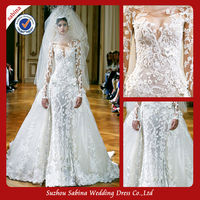 P0830 Zuhair Murad White Lace Long Sleeve See Through Prom Dress